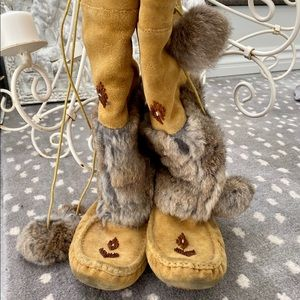 Suede & Fur Moccasin Boots